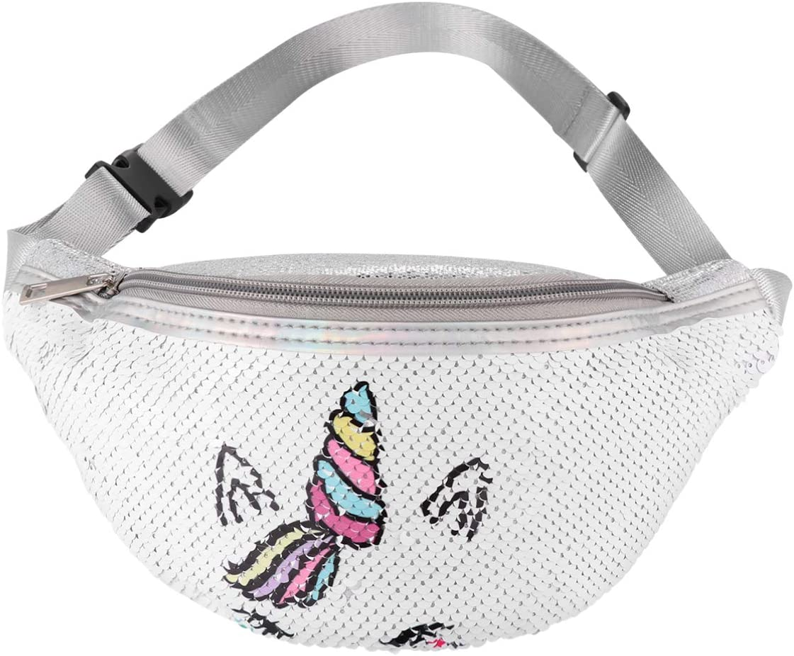 FENICAL Fanny Pack Sequin Women Waist Bag Unicorn Glitter Sling Travel Packs Anti-Theft Chest Bag for Baby Kids Girls Blue