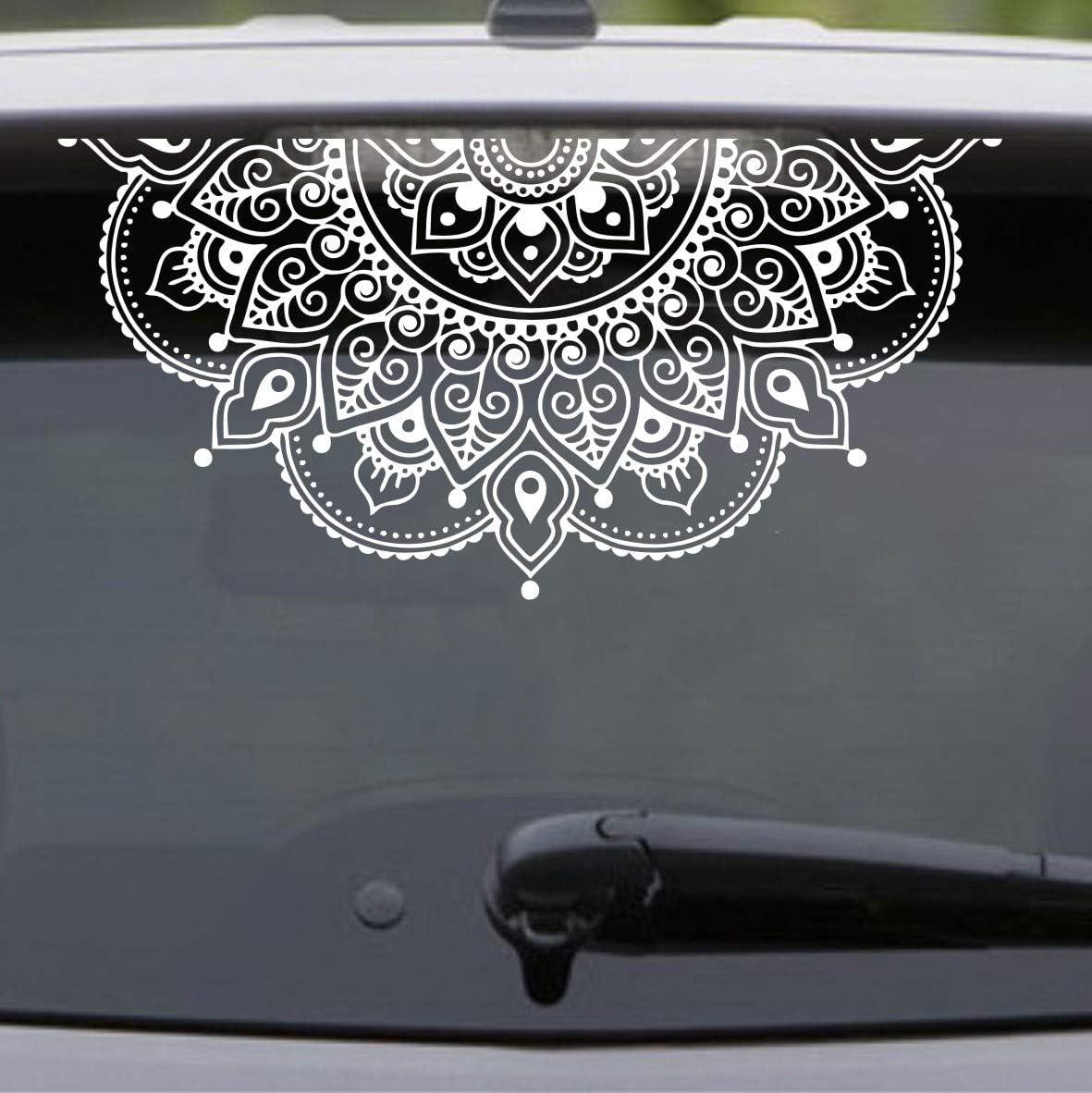 Vinyl Wall Decal Half Mandala Wall Sticker Car Trunk Glass Decor Sticker Yoga Car Window Stickers AY1441 (White 57x29cm)
