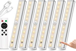 Remote Control Under Cabinet Lighting Wireless 6 Pack, 20-LED Dimmable Closet Lights Rechargeable Under Counter Light, Stick on Touch Night Light Strip Bar for Kitchen Stairway Bedroom, 3 Colors