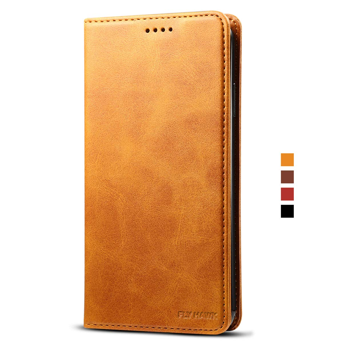 For iphone XR PU Wallet Kickstand Flip Phone Cover Case with Card Slot, Brown FLY HAWK