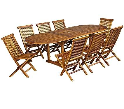 salon de jardin en teck huilé pour 8-10 personnes Table ...
