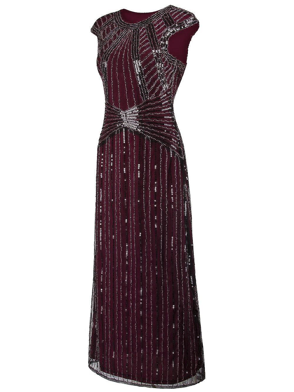 Vikoros 1920s Long Prom Dresses Cap Sleeve Beaded Sequin Evening Party Dress: Amazon.co.uk: Clothing