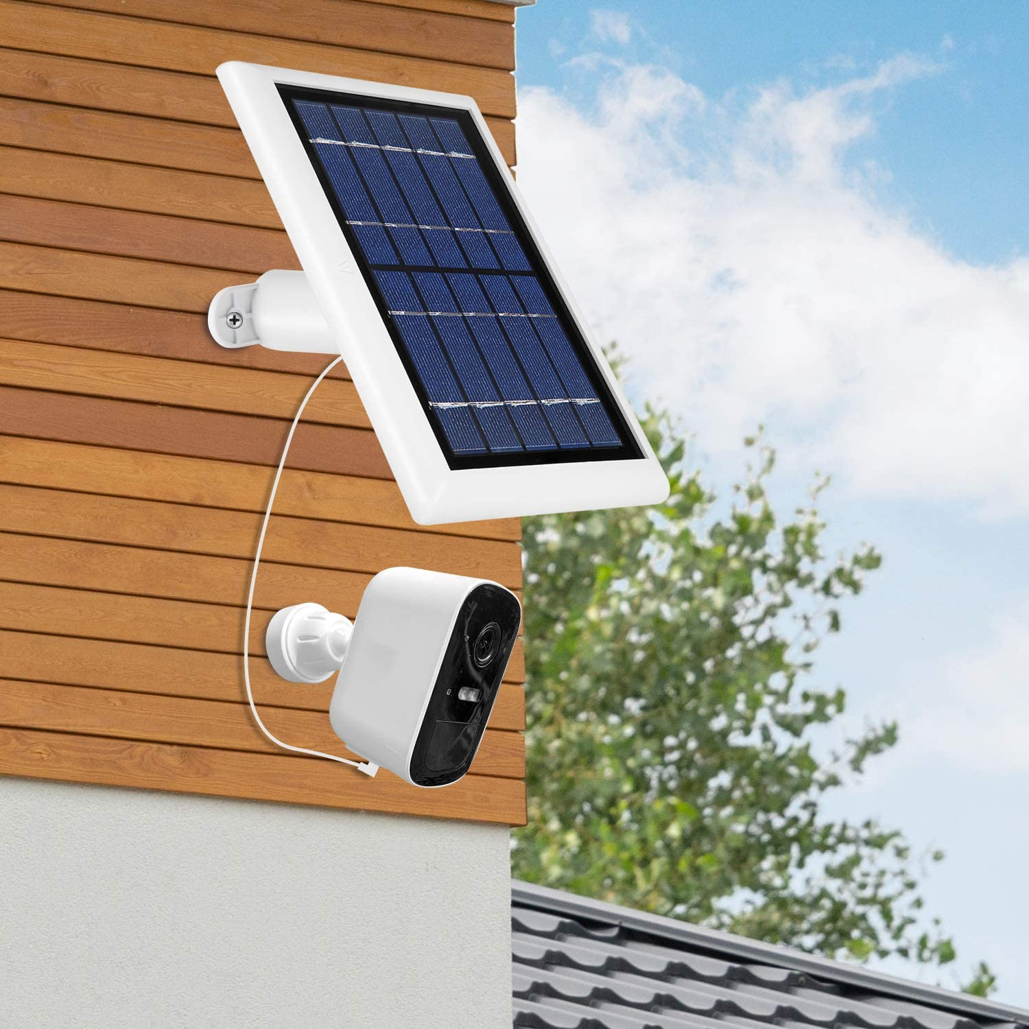 Wasserstein Solar Panel with 13.1ft//4m Cable Compatible with Eufy Cam 2C and 2C Pro NOT Compatible with Eufy Cam 2//2 Pro//E 1-Pack, White Power Your Surveillance Camera Continuously