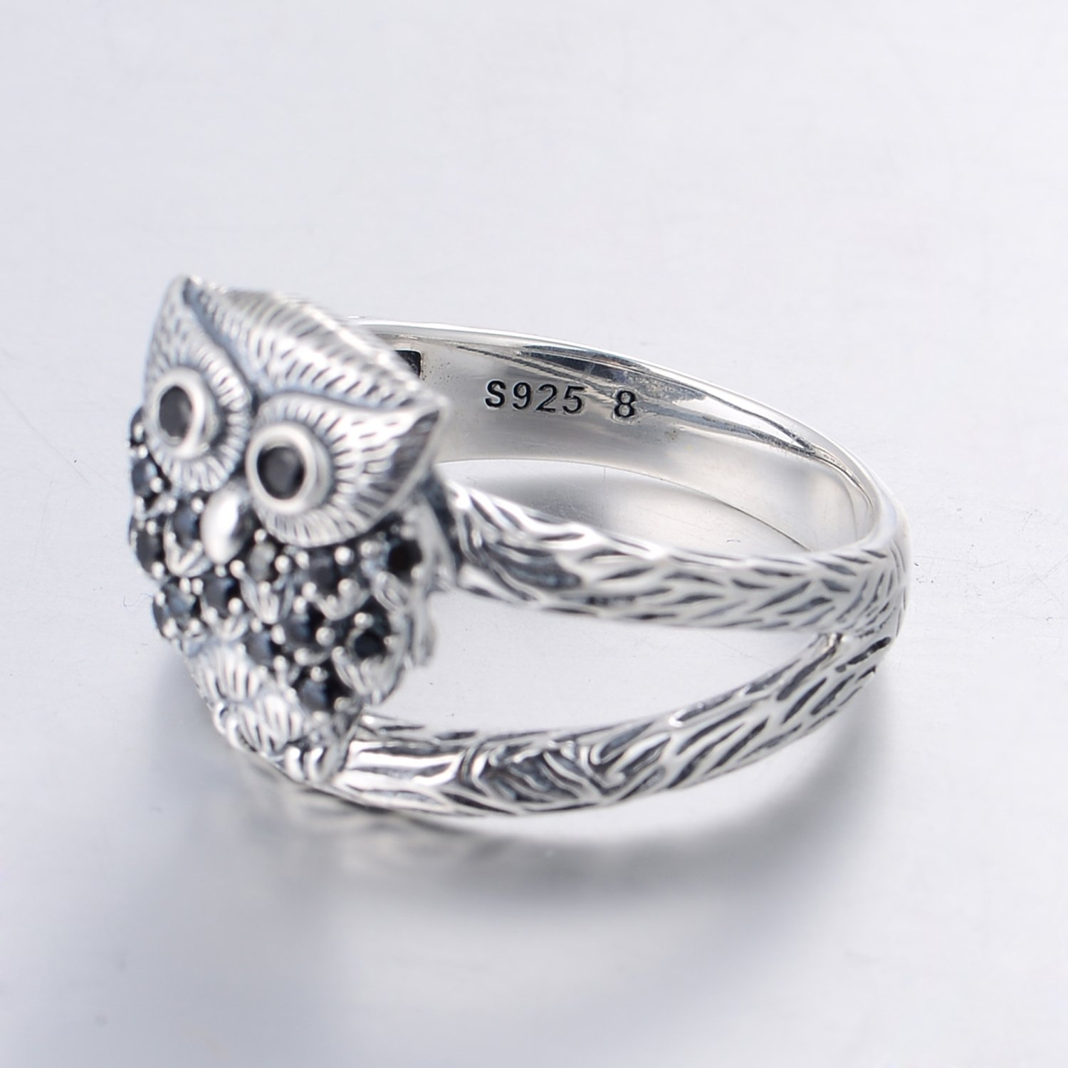 Argent sterling 925/Ring-wise Chouette Ring-animal Bague pour Womens-ring Taille O