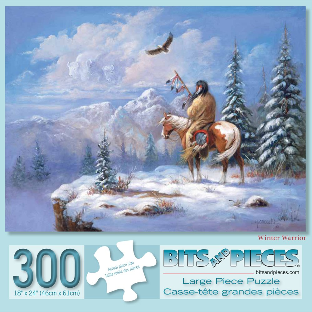 Bits and Pieces - 300 Piece Jigsaw Puzzle for Adults - Winter Warrior - 300 pc Native American Jigsaw by Artist Marianne Caroselli