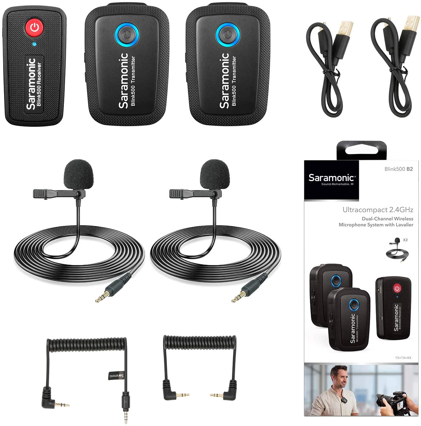 2.4GHz Wireless Microphone System Two Transmitters for Camera Smartphone, Saramonic Ultracompact Dual-channel Mic for DSLR, Mirrorless, Video Cameras, Mobile Devices Youtube Facebook Live (TRS & TRRS) 71LamWhNMYL