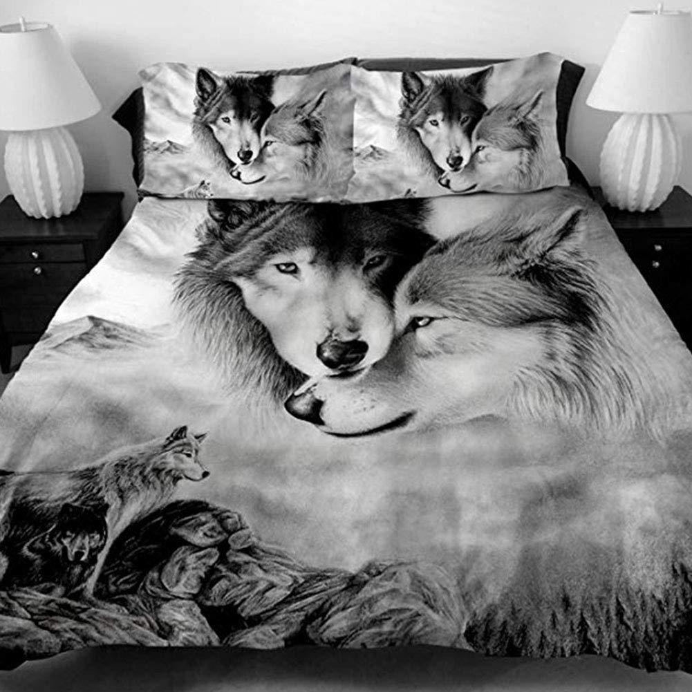 Couple Wolf FairOnly Parure de lit avec Housse de Couette et taies doreiller Motif Loup 3D 150X200