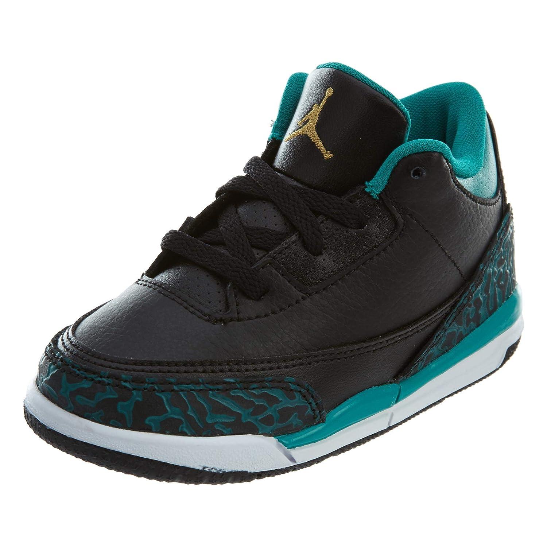 quality design fc88a 77807 Amazon.com   Nike Baby Girls Air Jordan 3 Retro GG Black Metallic Gold-Teal  Leather   Sneakers