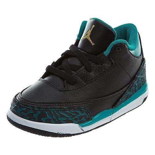 best sneakers 94942 24d27 Nike Baby Girls Air Jordan 3 Retro GG Black/Metallic Gold-Teal Leather