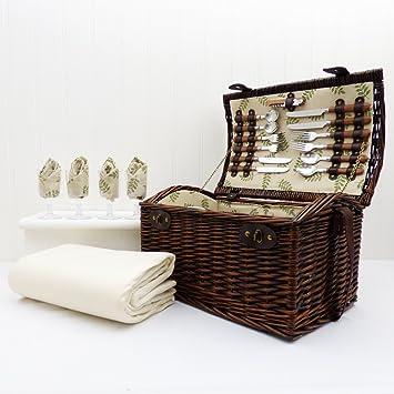Panier de pique-nique de luxe à 4 personnes Sutton avec accessoires adaptés - Parfait pour le mariage et l'anniversaire d'anniversaire Cvfp0a