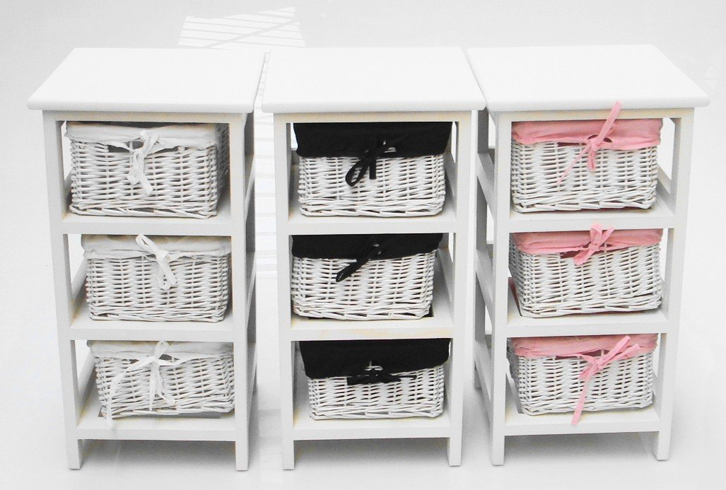 High Quality WHITE SLIM NARROW BEDSIDE CABINET 3 CHEST OF DRAWS DRAWER BATHROOM STORAGE  UNIT KIDS BEDSIDE TABLE WHITE LINING: Amazon.co.uk: Kitchen U0026 Home