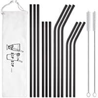 Hiware 12-Pack Black Stainless Steel Straws Reusable with Case - Metal Drinking Straws for 30oz and 20oz Tumblers Yeti Dishwasher Safe, 2 Cleaning Brushes Included
