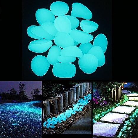 Jardín luminoso brillante piedra Pebble 200pcs Glow Pebbles en la oscuridad piedras para pasarelas de al ...