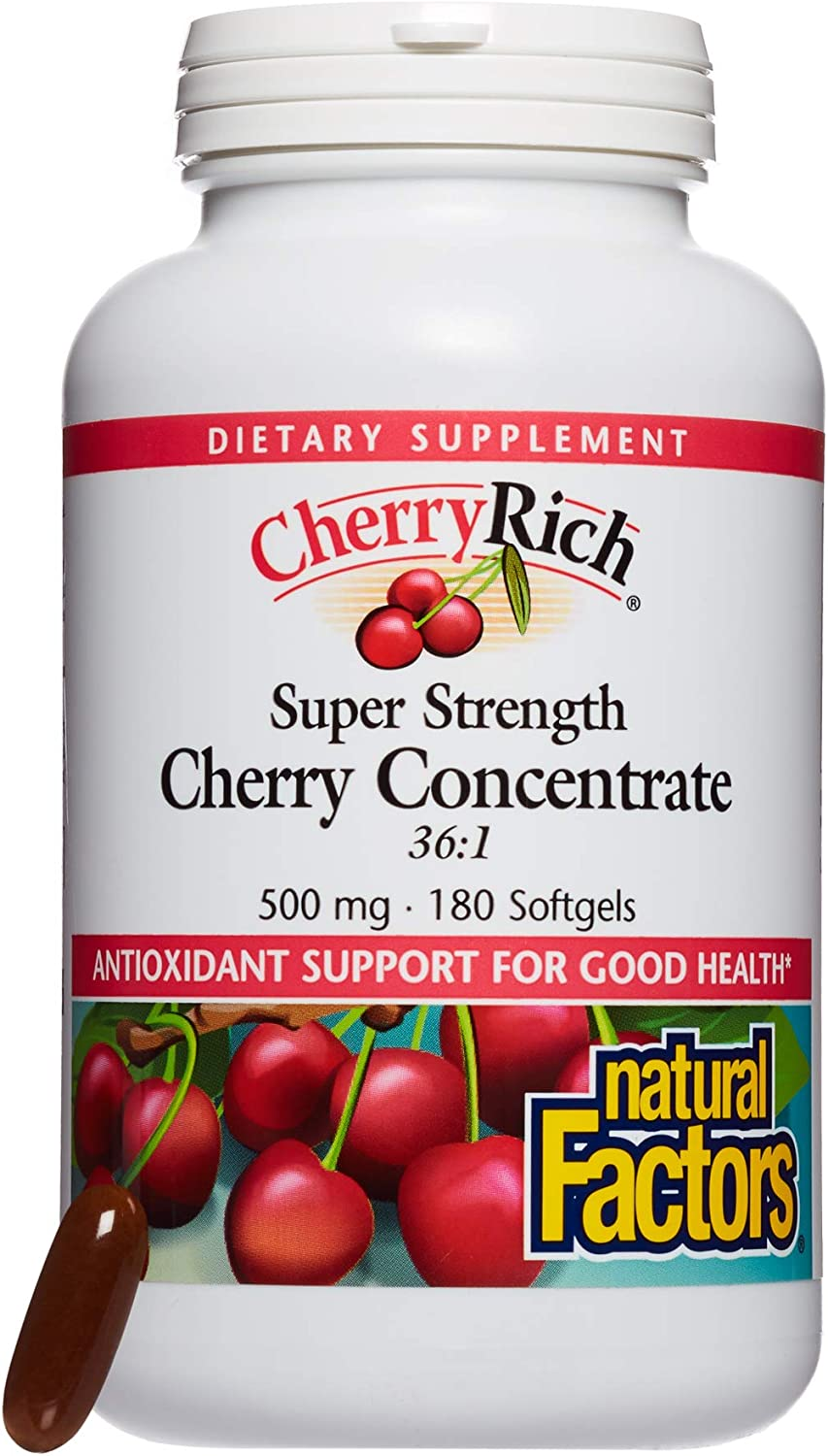 CherryRich by Natural Factors, Super Strength Cherry Concentrate, Antioxidant Support for Healthy Joints and Uric Acid Metabolism, 180 softgels 180 Servings