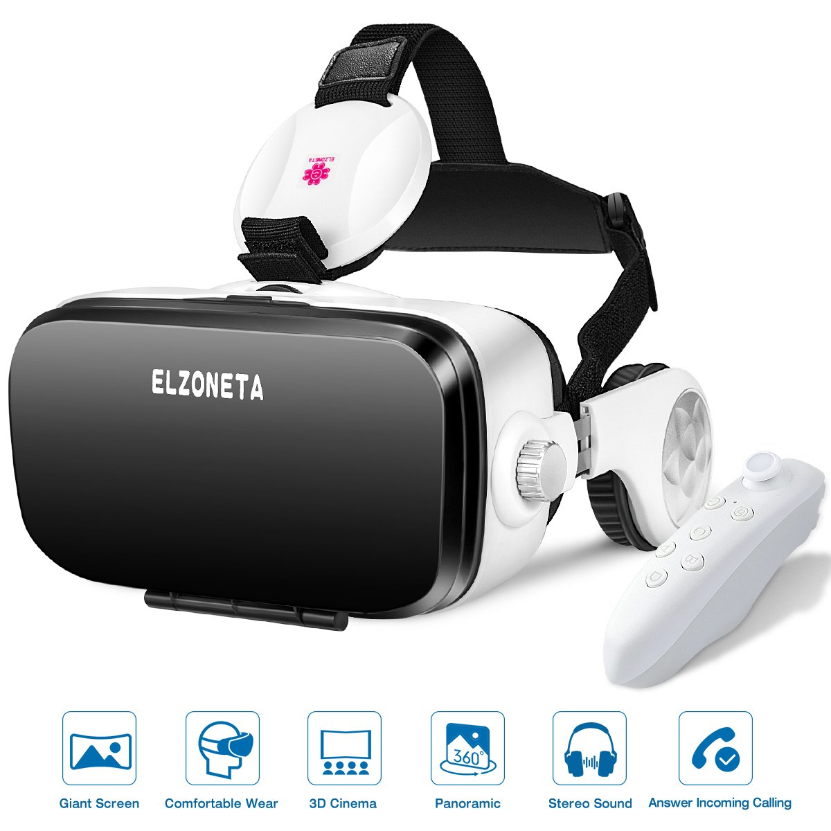 Reality Virtual VR Headset 3D Glasses - with Bluetooth Remote Controller and Stereo Sound Earphones for Video Games, Adjustable Lens Reality Helmet for iphone, Android Mobile Phone