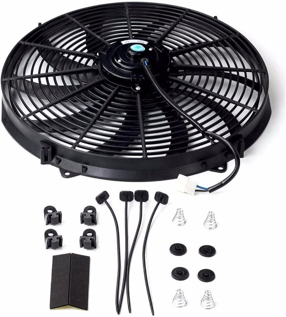 "SUPERFASTRACING 16"" inch Universal Slim Fan Push Pull Electric Radiator Cooling 12V Mount Kit Black"