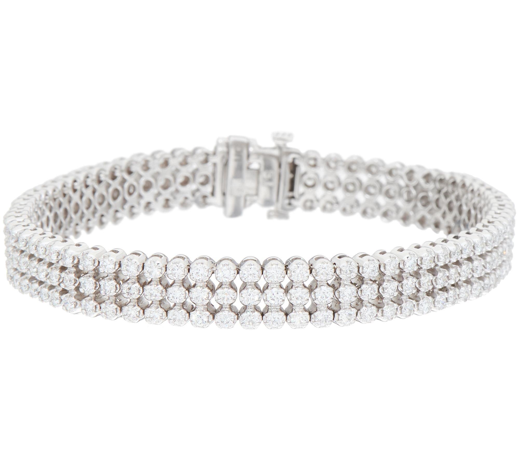 Silvostyles 4.60 Cttw Triple Row D/VVS1 Diamond Tennis Bracelet In 14K White Gold Plated by Silvostyles