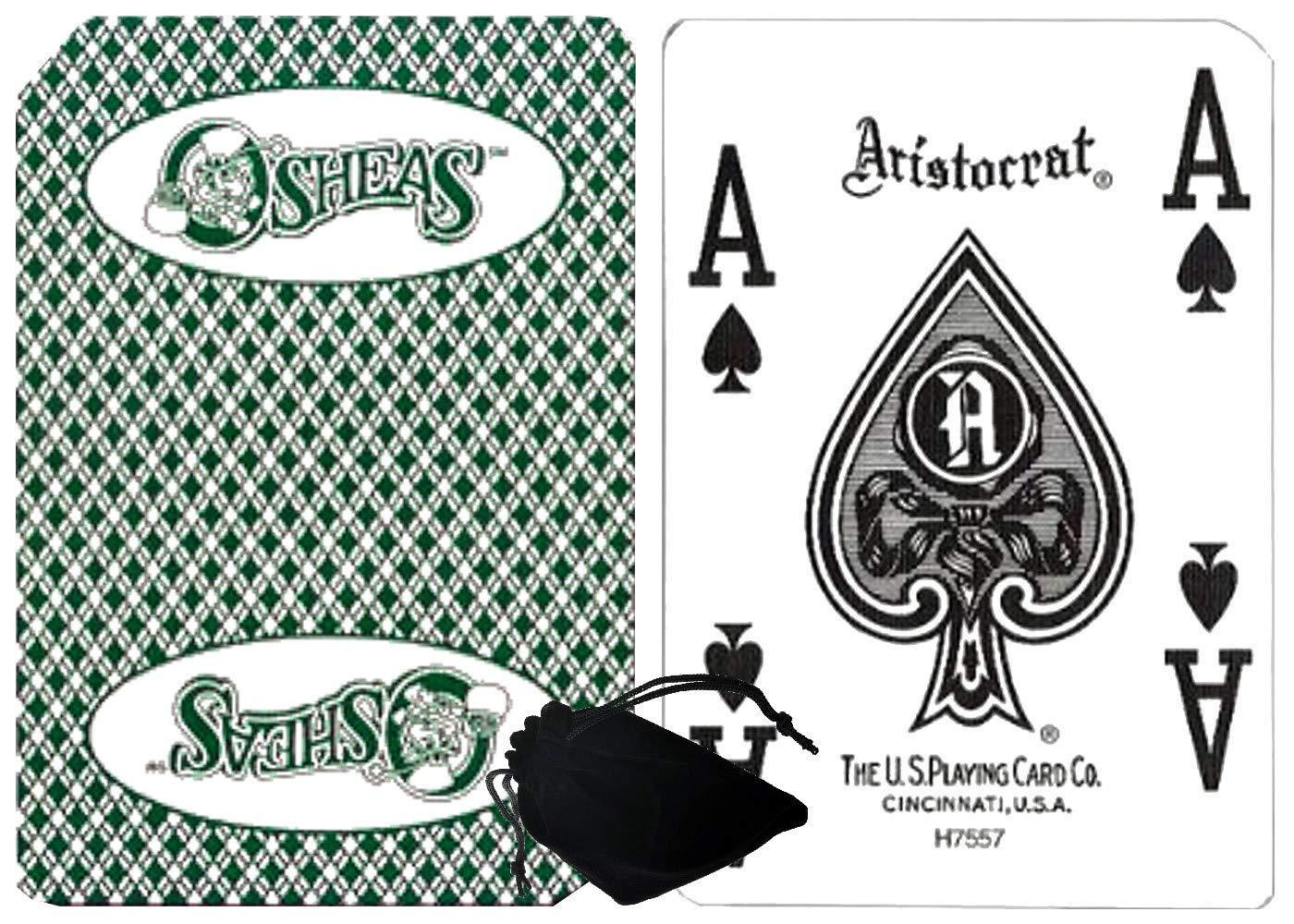 Cyber-Deals Wide Selection of Las Vegas Strip Casino Table-Played Authentic Playing Card Decks with Black Velvet Cloth Pouch Bag