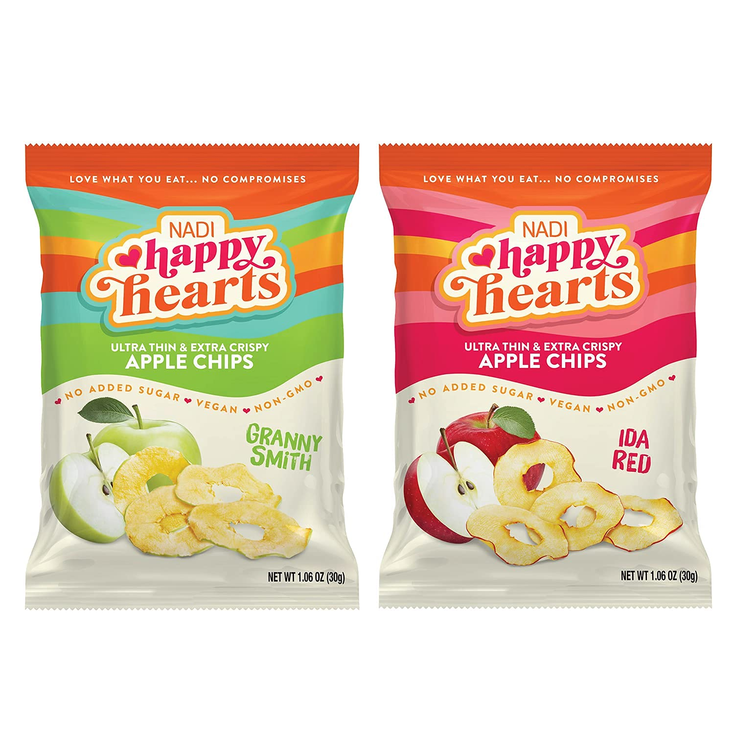 NADI - Healthy Hearts Apple Chips - Variety Pack (Pack of 6) | Extra Crispy, Crunchy, Thin Dried Apple Slices | Gluten Free, Non-GMO, Vegan, Keto, Paleo, Fat Free (3ea of Granny Smith and 3ea Ida Red)