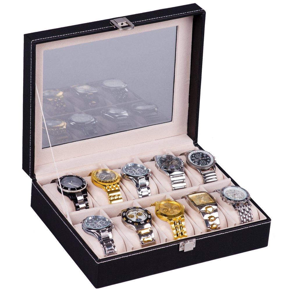 H&S Glass Lid 10 Watch Jewellery Display Storage Box Case Bracelet Tray Faux Leather Black