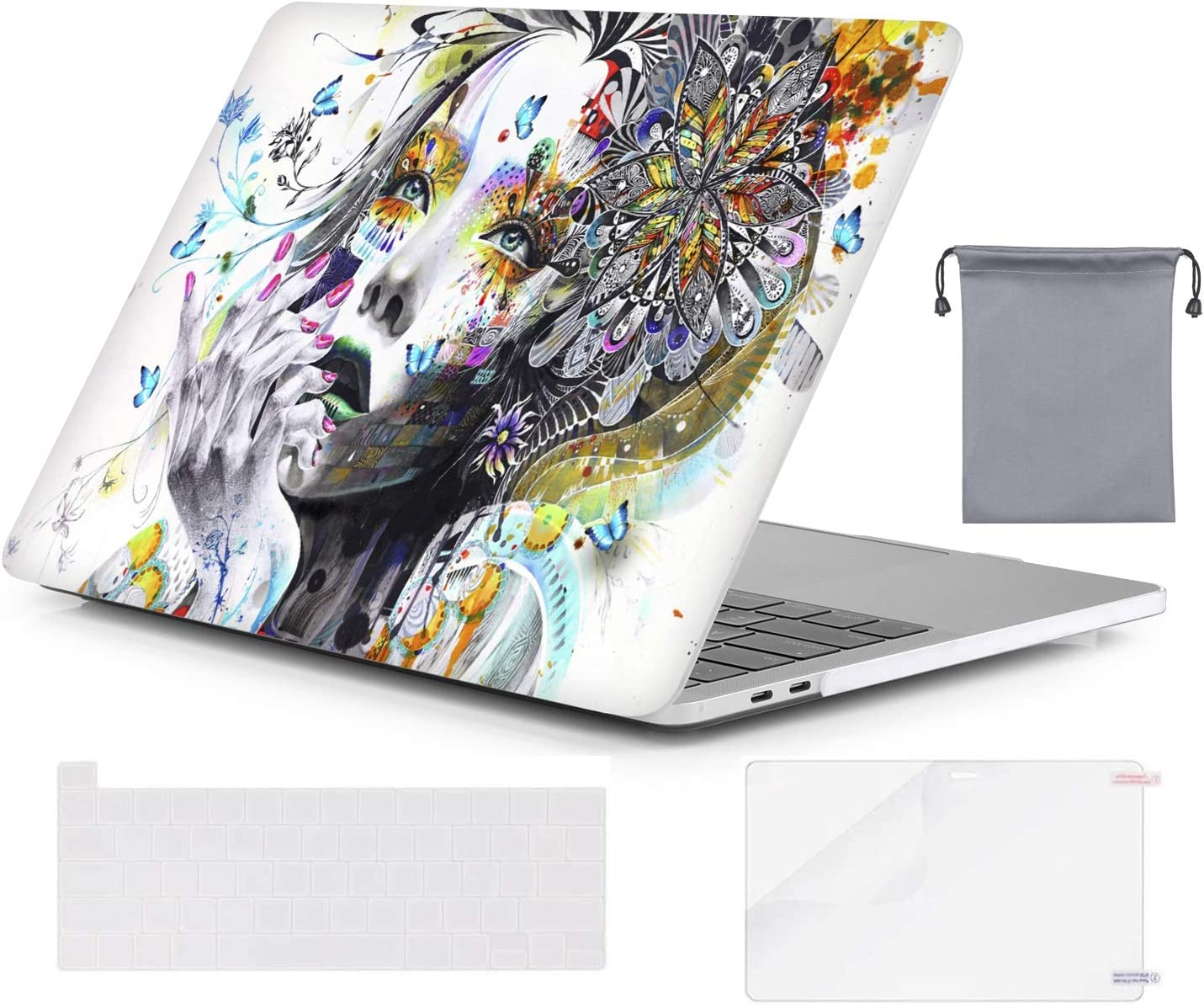 OZADE MacBook Pro 13 inch Case 2020 2019 2018 2017 2016 Release A2289 A2251 A2159 A1989 A1706 A1708,Plastic Hard Shell Case for Apple MacBook Pro 13 with/Without Touch Bar,Girl & Buterflys White Base