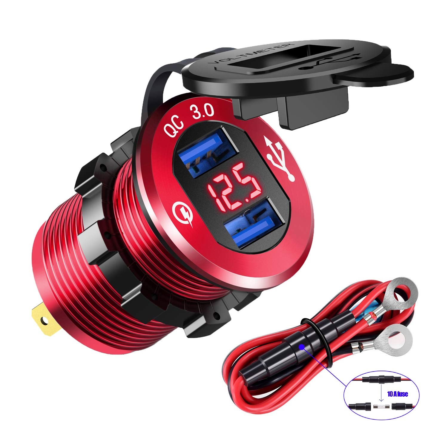 YONHAN Quick Charge 3.0 Dual USB Charger Socket, Waterproof Power Outlet Fast Charge with LED Voltmeter & Wire Fuse DIY Kit for 12V/24V Car Boat Marine ATV Bus Truck and More - Red by YONHAN
