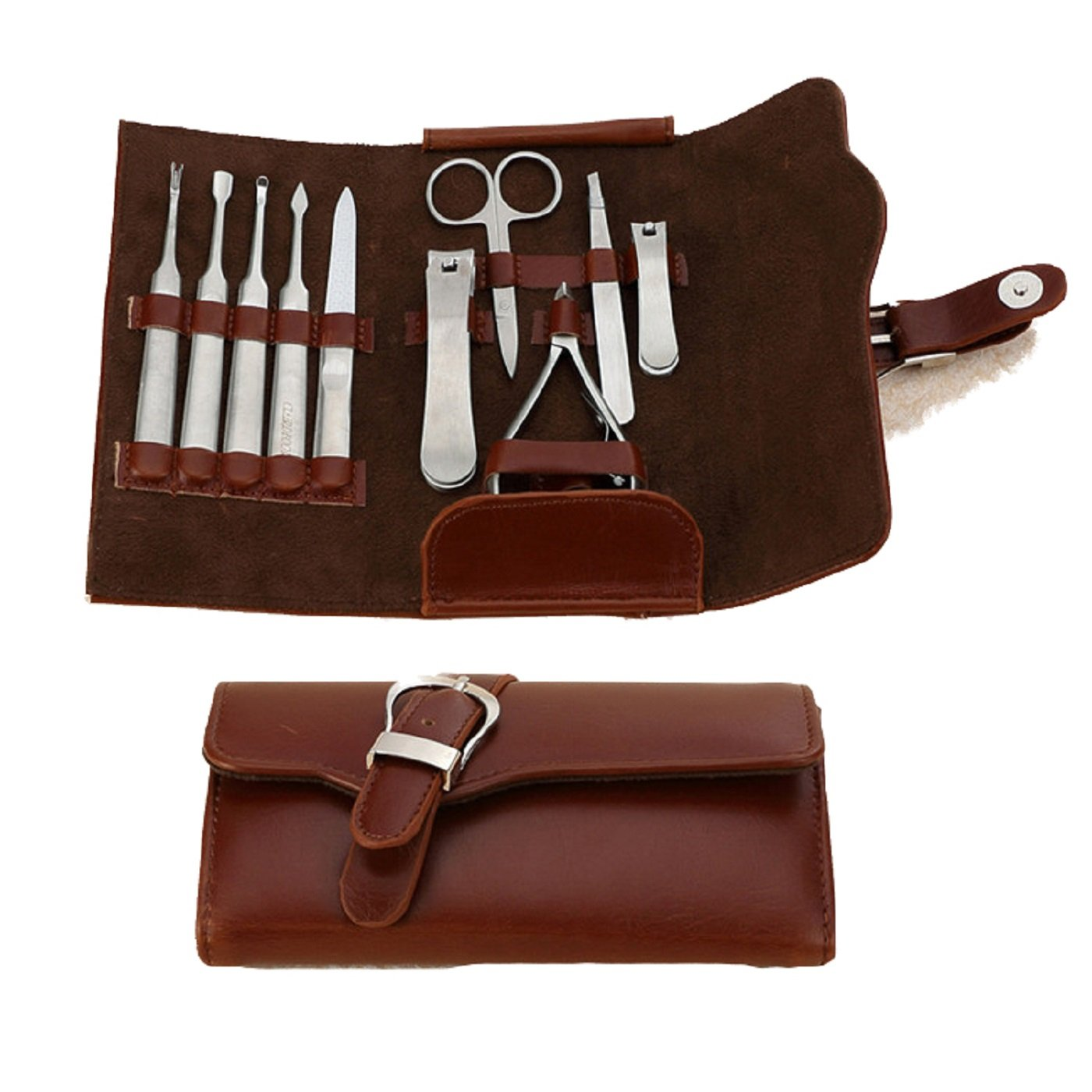 Manicure Set Pedicure Kit Quality Leather Nail Care Clipper Scissors Grooming Tool Mens Women (Brown Leather) Abielmo