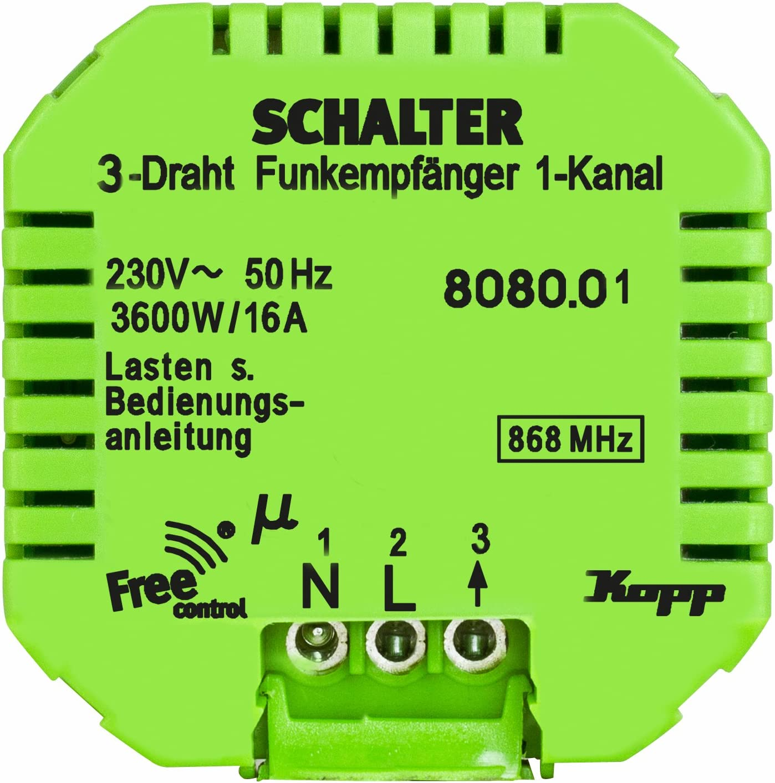 KOPP Free control Funk-Empfängerschalter 3-Draht-Technik
