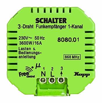 Kopp Funkempfänger Free-Control 1 Kanal/3-Draht, Funksystem für ...