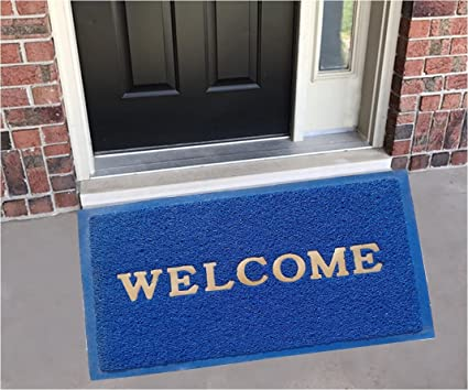 Yellow Weaves™ Dust Remover PVC Welcome Doormat for Offices,Hotel,Restaurant, Home,Shop -Color- Blue, Size : 38.1 cm X 58.4 cm