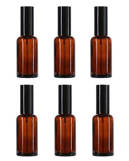 FOONEE Botellas de Spray de Vidrio ámbar, 50 ML, plástico Negro, pulverizadores Finos