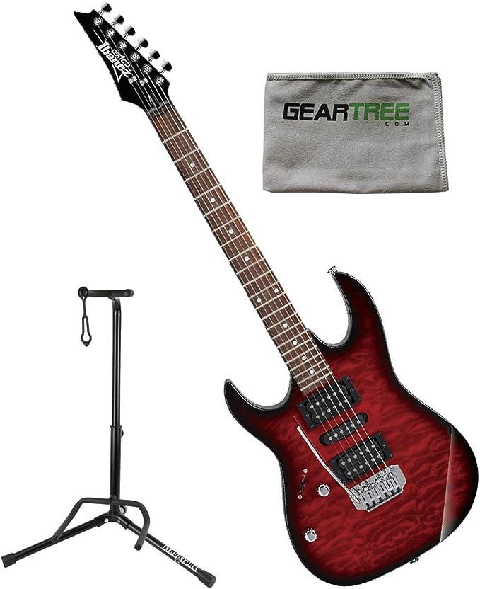 Ibanez grx70qatrbl Gio RX zurdos guitarra eléctrica transparente rojo Burst W/gamuza de geartree y soporte: Amazon.es: Instrumentos musicales