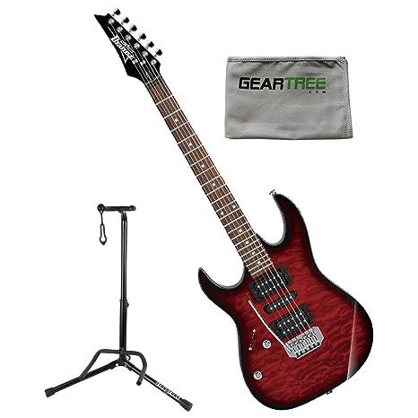 Ibanez grx70qatrbl Gio RX zurdos guitarra eléctrica transparente rojo Burst W/gamuza de geartree y