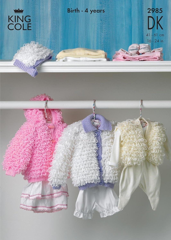 "Baby Knitting Pattern Double Knit LOOPY CARDIGAN JACKET BOLERO BONNET 16-24/"""