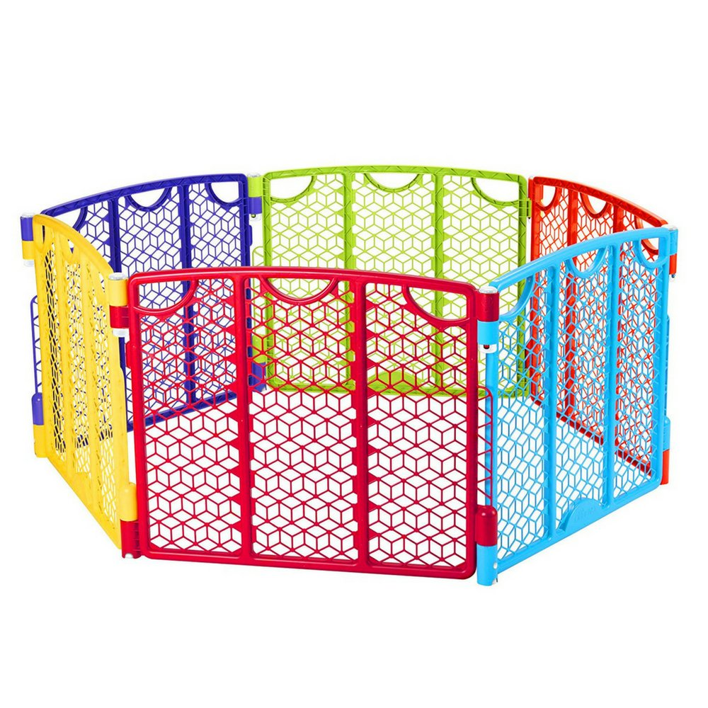 Baby Outdoor Play Yard Center Safety Gate Playpen Kids Home Indoor Quick and Easy Set Up and Fold Safe and Enclosed Play Activity 6 Multicolor Panel UV Weather Resistant & eBook by BADa shop by BS (Image #1)