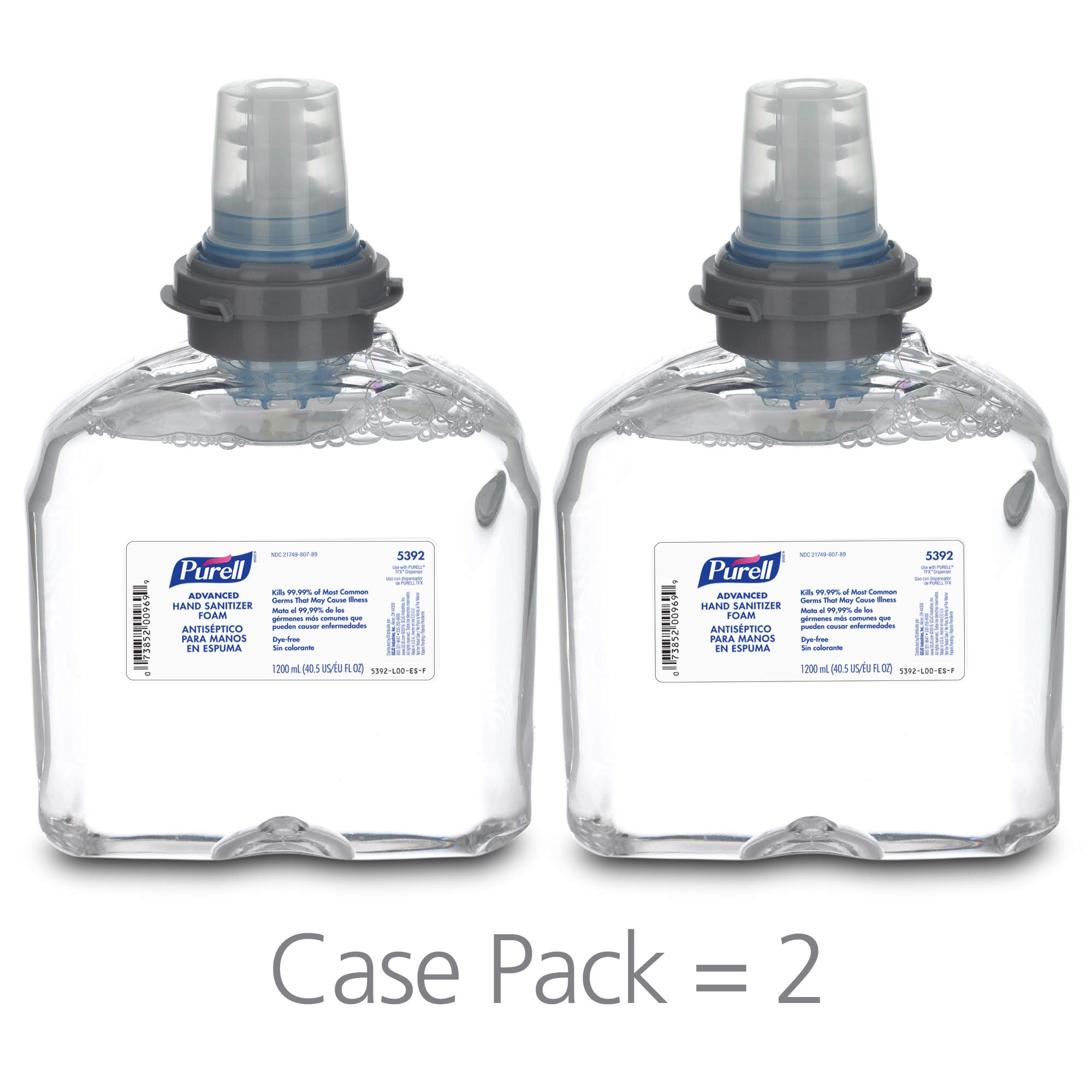 PURELL Advanced Hand Sanitizer Foam, Clean Scent, 1200 mL Hand Sanitizer Foam Refill for PURELL TFX Touch-Free Dispenser (Pack of 2) - 5392-02 by Purell