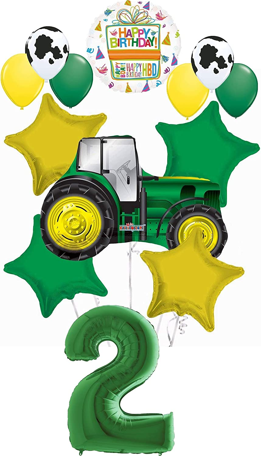 Farm Tractor 2nd Birthday Party Supplies 13 pc Balloon Bouquet Decorations