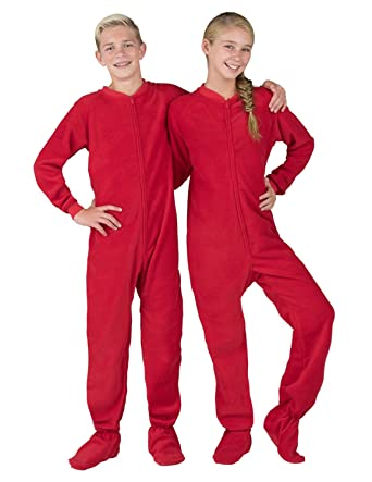 a9c24fa27 Amazon.com: Footed Pajamas - Bright Red Kids Fleece Onesie: Clothing