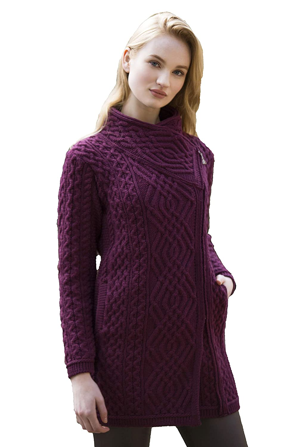 Wine Aran Crafts Cable Knit Side Zip Coat (100% Merino Wool) in Wine, Grey, Army Green Colours