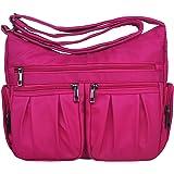 Volcanic Rock Multi Pocket Shoulder Bag Corss-body Purse Waterproof Nylon Travel Handbags for Women