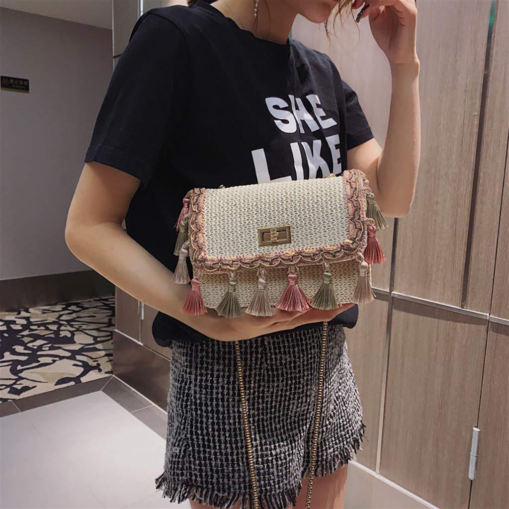 a568ca61a418 Amazon.com: Rakkiss Women Shoulder Bag Fashion Weave Solid Messenger ...