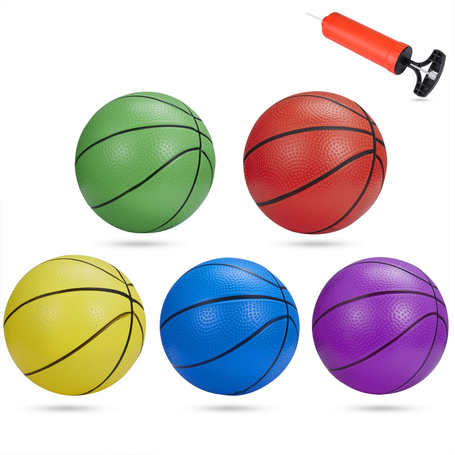 BESTTY 6 Inches Colorful Toddler Kids Replacement Mini Toy Basketball Rubber Baketball for Kids, Teenager Basketballs (5 PCS with 1 Air Pump) by BESTTY
