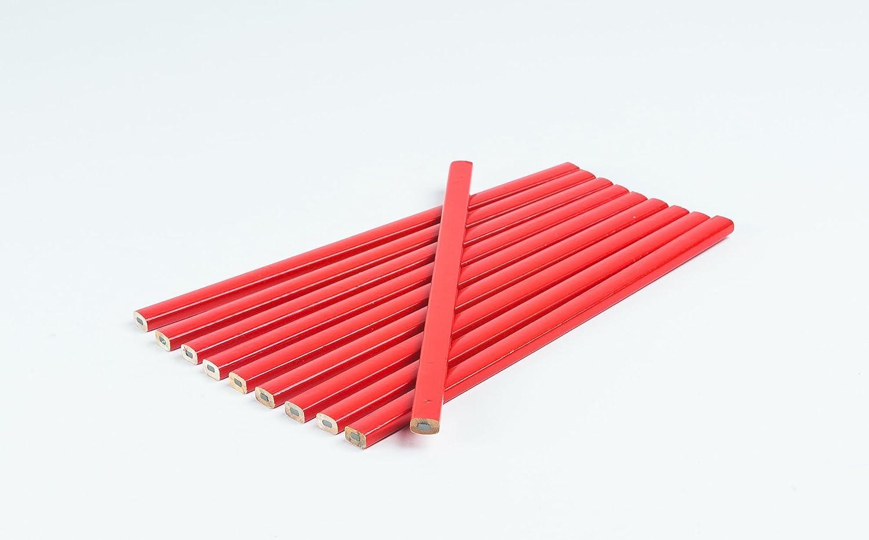 10 pieza carpintero lá piz I rojo I ovalado I 250 mm I lá pices de carpintero (I trazos de 1 –  2 mm I Diseñ o –  Lá pices I Albañ il lá pices I Pack de ahorro