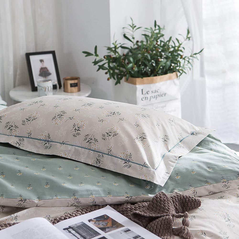 AMWAN Cotton Floral Duvet Cover Set Queen 3 Piece Flower Printed Full Bedding Set Cotton Soft Reversible Duvet Comforter Cover Set Lightweight Vintage Luxury Bedding Collection Full Queen Bed FSMP32-4K