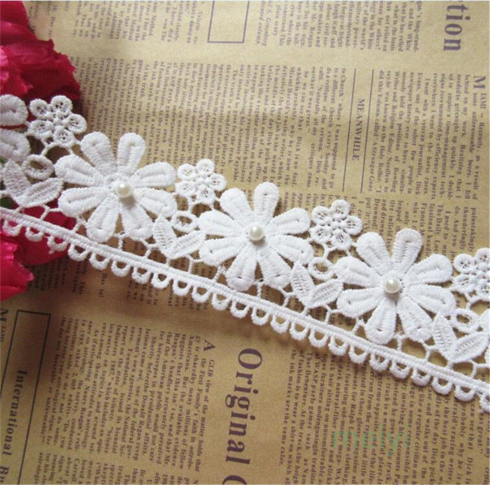 1 Meter Cotton Pearl Flower Lace Edge Trim Ribbon 5.6 cm Width Vintage Style Off White Ivory Edging Trimmings Fabric Embroidered Applique Sewing Craft Wedding Bridal Dress Clothes Embellishment Qiuda