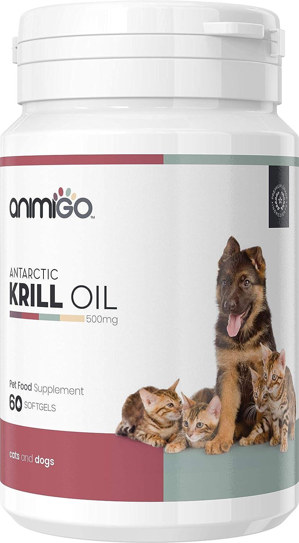 Animigo Huile de Krill Capsules de 60mg Bien Être Oméga 3 pour Chiens et Chats