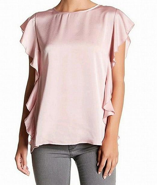 d3b2a789e24d1 Bobeau Womens Medium Flutter Sleeve Tie-Back Blouse Pink M at Amazon ...
