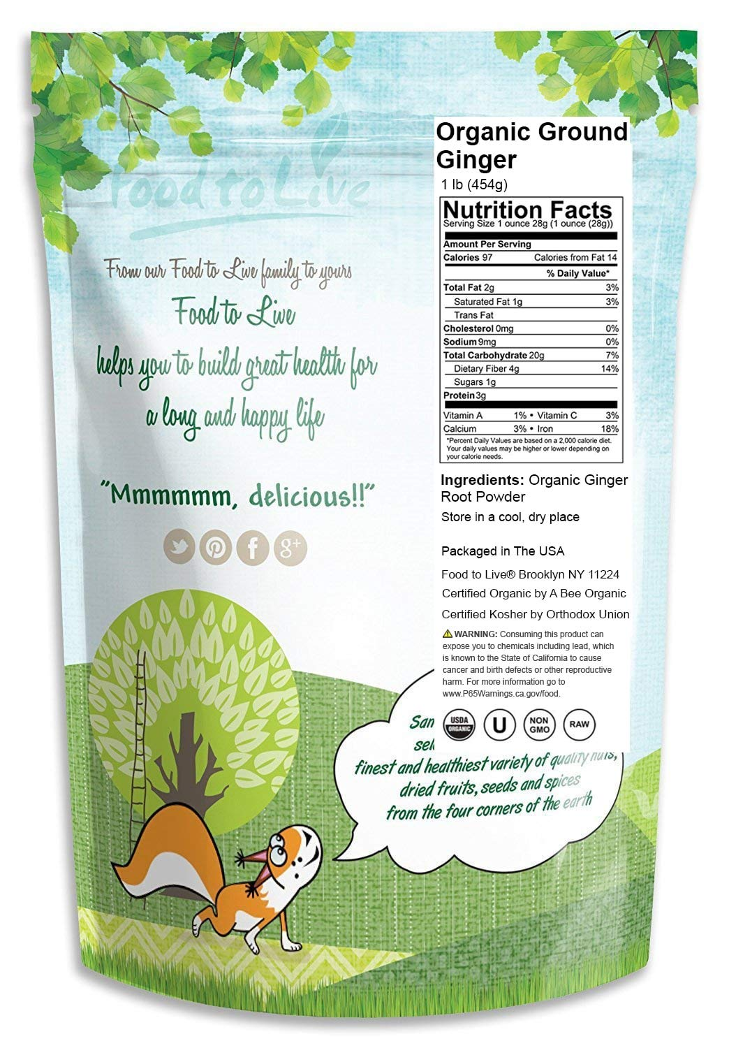 Food to Live Certified Organic Ginger Root Powder (Non-GMO, Kosher, Bulk, Raw Ground Ginger Root, Flour) (1 pound) by Food to Live (Image #2)