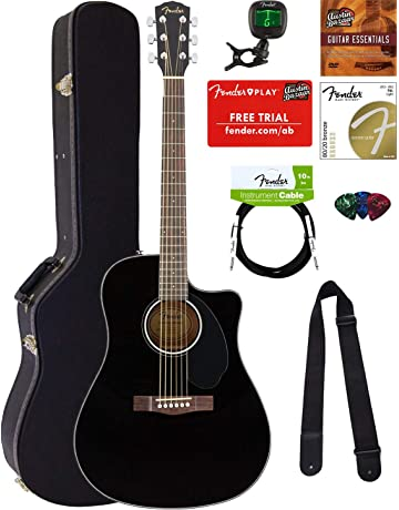 Fender CD-60SCE Dreadnought Acoustic-Electric Guitar - Black Bundle with Hard Case,