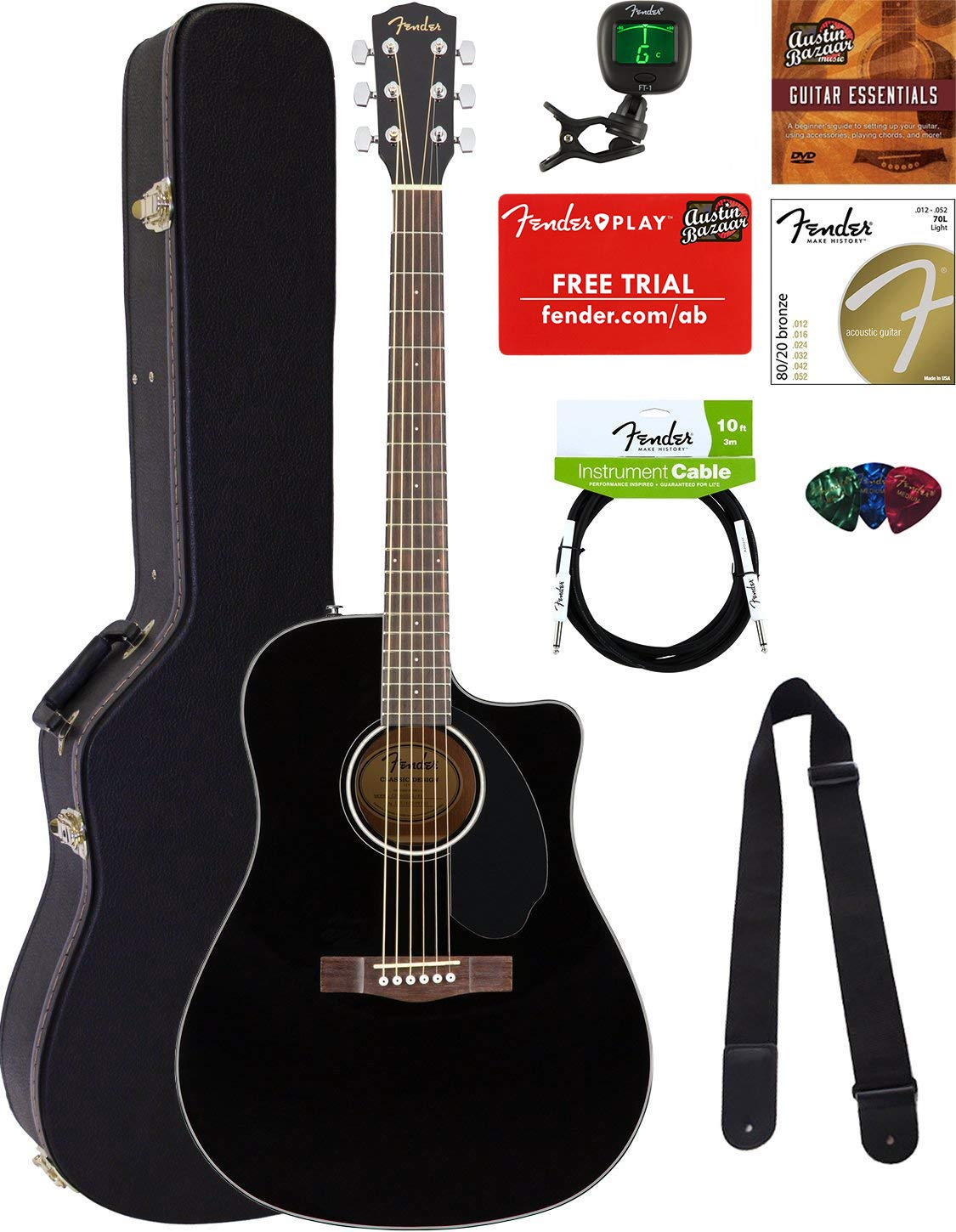 Fender CD-60SCE Dreadnought Acoustic-Electric Guitar - Black Bundle with Hard Case, Tuner, Strap, Strings, Picks, Instructional DVD, Polishing Cloth by Fender